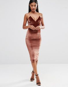Club L Velvet Cami Strap Midi Dress at asos.com 0ea167a4e78d