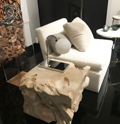 Achillea table lamp polished chrome - opal Murano glass   Designer William Pianta   brand Nahoor   Showroom US