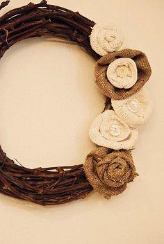 burlap rose + sweater flower wreath