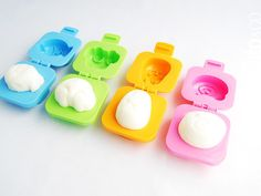 Yude Tama Egg Molds are two sets of plastic, clamshell molds that are used to form hard boiled eggs into cute shapes. A must-have tool for charaben (cute decorated bento) artists!