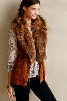 Vest with fur collar. How To Wear a Faux Fur Vest. We'll help you wear it, and wear it well.