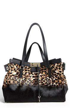 Jimmy Choo 'Farrah' Dégradé Leopard Print Calf Hair Satchel, Extra Large | Nordstrom
