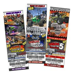 Monster Jam Truck birthday party Invitation - digital file - 1st first custom personalized. $11.99, via Etsy.