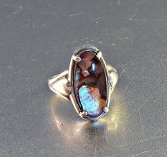 Kabana Sterling Ring Iridescent Abalone Size 7 by LynnHislopJewels