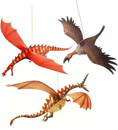 """Djeco / Hanging Paper Decor, Merciless Dragons by Djeco. $12.98. Suitable for all ages but require adult assistance for assembly and hanging. Dragon sizes varies from 4.3"""" long to 14.9"""" long. Beautiful and easy to assemble, hanging paper decorations add cheer and color to any space. Featherweight decorations spin and float with changing air currents. Designed in France by Arthur Leboeuf. Brighten and cheer up any room with these beautiful hanging paper decorations from Dj..."""