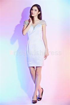 Light Sky Blue Sheath/Column Illusion Sleeves Beading Cocktail Dress/Homecoming Dress just US$ 87.99 #specialoccasiondress #beautifuldress #beauty #girl #fashion