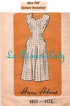 Repro Vintage Full Apron 40s Pattern on PDF No 20 by laprairielady, $5.00