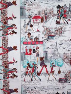 Aqua and Pink Who's That Girl 2 Print Pure Cotton Fabric--One Yard