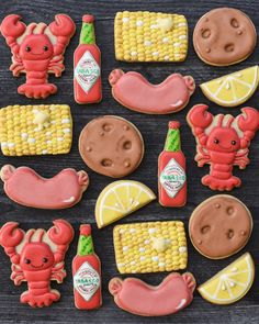 raise your hand if you wish you were sitting by water devouring a crawfish boil right now? Iced Cookies, Cute Cookies, Easter Cookies, Royal Icing Cookies, Baby Cookies, Heart Cookies, Valentine Cookies, Birthday Cookies, Christmas Cookies