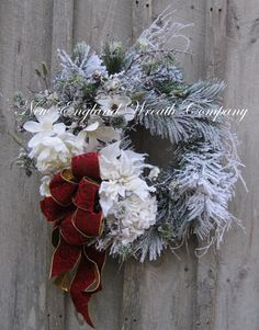 Christmas Wreath Holiday Wreath Frosted Pine by NewEnglandWreath