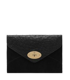 Mulberry Willow Envelope Clutch in Black Mixed Exotic