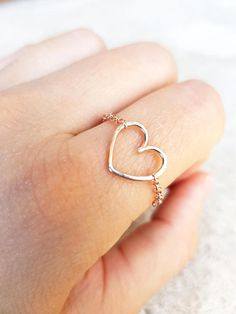 Heart Chain Ring Tiny Heart Ring Sterling Silver-22k Gold-22k