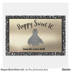 Elegant Black Glitter Gold Happy Sweet 16 Yard Sign