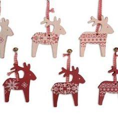 Traditional Scandinavian Christmas Decorations | Hanging Christmas Decorations ~ Wooden Scandinavian / Nordic Box of 6 ...