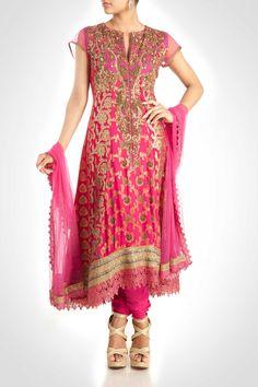 Pink Suit With Zardosi Work
