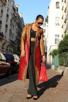 Inspiration – Trench Dashiki rouge Tim Création ~Latest African Fashion, African women dresses, African Prints, African clothing jackets, skirts, short dresses, African men's fashion, children's fashion, African bags, African shoes ~DK