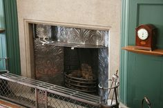 One of the amazing fireplaces at Standen in Sussex. Standen is a beautiful house in the arts & crafts style with Morris & Co interiors. The house is now owned by the National Trust and open to the public.