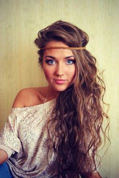 long hair with headband, great volume in these tresses