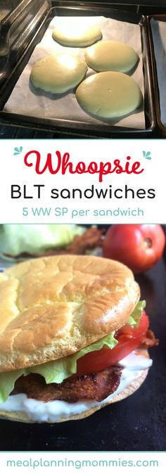 Whoopsie BLT Sandwiches – Meal Planning Mommies Whoopsie BLT Sandwiches – Uses homemade cloud bread to make the best BLT sandwiches ever – Just 5 WW FreeStyle SmartPoints per sandwich Low Calorie Bread, Low Calorie Recipes, Homemade Sandwich Bread, Low Carb Burger Buns, Weightwatchers Recipes, Wrap Sandwiches, Vegan Sandwiches, Sandwich Recipes, Best Sugar Cookies