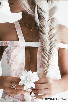 Floral, dainty jewels & #luxyhairextensions = #perfectsummerlook <3 The beautiful @emilyrosehannon is wearing her Ash Blonde 220g Luxies in this fishtail braid.