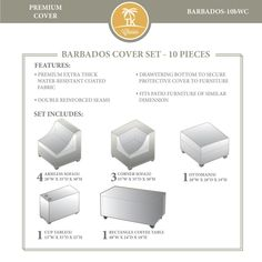 Rosecliff Heights Camak 8 Piece Patio Furniture Cover Set Size: H x W x D, Color: Beige Barbados, Round Fire Pit Cover, Patio Umbrella Covers, Outdoor Furniture Covers, Furniture Sets, Furniture Nyc, Furniture Layout, Cheap Furniture, Coffee Table Rectangle