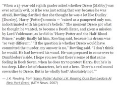 This is why I personally find Draco a fascinating character. I only wish we had more of his back story.