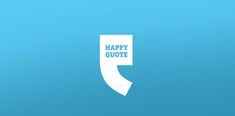 A simple idea in which the text 'Happy Quote' is placed inside a quotation mark like speech bubble. The quote itself also resembles a smiling cartoon character, reinforcing the happy vibe the logo wants to promote.