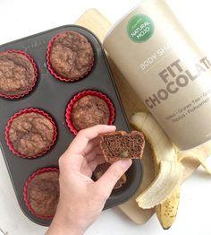Vegane Schoko Bananen Muffins mit Fit Chocolate von Natural Mojo - 85 kcal