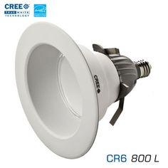 "CREE CR6-800L - 6"" Recessed Downlight - 12 Watts - 800 Lumens - Soft White - Edison Base - 90 Watt Equal"