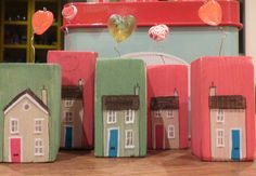 Little wooden houses ~ love token ~ mixed media ~ special occasion gift, birthday present
