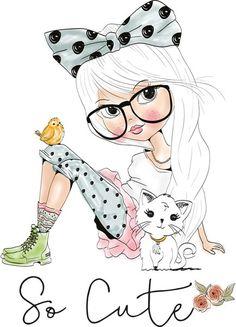 Cute Little Girl Illustration Mignonne, Illustration Girl, Girl Illustrations, Girl Cartoon, Cute Cartoon, Cute Images, Cute Pictures, Cartoon Mignon, Art Mignon