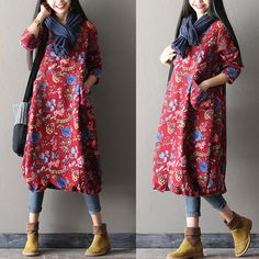 Floral cotton dress - Tkdress  - 1