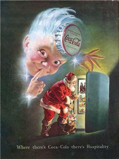 "1948 Santa & Sprite Boy Coca Cola Ad ""Coca Cola Hospitality"" Christmas Coke Ad Print Wall Art by on Etsy"