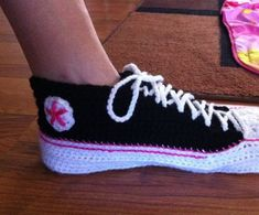 Adult Crochet Converse Extended Sizes by Craftopolooza on Etsy, $35.00