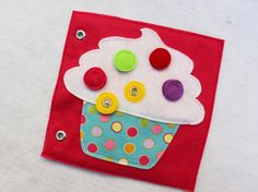 "NEW!  Custom Hand-Crafted Quiet Book Page- ""Cupcake"" - Single Page to Expand Your Personalized Quiet Book"