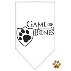 Game of Bones Bandana Scarf in color White - Daisey's Doggie Chic - 1