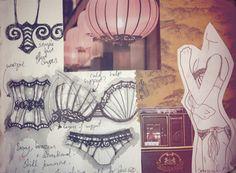 Fashion Sketchbook - lingerie design drawings with theme development - contour fashion design; Textiles Sketchbook, Fashion Design Sketchbook, Fashion Design Portfolio, Art Sketchbook, Fashion Sketches, Art Portfolio, Fashion Illustrations, Fashion Collage, Fashion Art