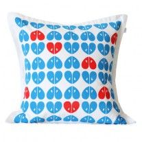 "Bright blue & coral ""apples"" cushion cover designed & manufactured in Knysna"
