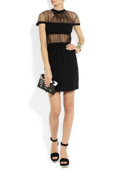 Christopher Kane                                  Ruched tulle and silk dress