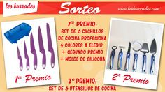 Les Burrades te invita al sorteo doble de set de 6 cuchillos + molde de silicona (1er. premio) y un set de utensilios de cocina (2º premio)
