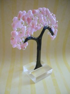Cherry Blossom Tree ~ Fused Glass in a Glass or Stone Stand MTO | Imagine-It-In-Glass - Glass on ArtFire