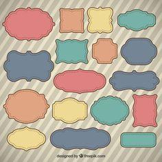 Etiquetas desenhadas mão coloridas no estilo retro