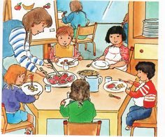 mealtime at preschool Speech Language Therapy, Speech And Language, Education English, Kids Education, Teaching Spanish, Teaching English, Picture Comprehension, Picture Composition, Vocabulary Practice