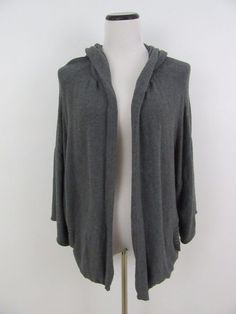 Eileen Fisher Gray Hooded Cardigan Sweater Organic Cotton Size M #EileenFisher #Hooded