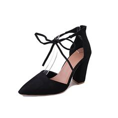 7f5fddfd2a07 FINOC Womens High Heel Pumps Shoes Chunky Heels Crossover Ankle Strap Suede Heeled  Sandals For Women
