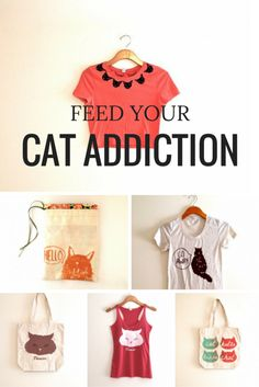 Feed your cat addiction with these purrfect cat-obsessed pieces. From tees to tanks to totes, you'll find something to add to your crazy cat lady collection. Also a great gift idea for Christmas. Handmade and made in the USA.