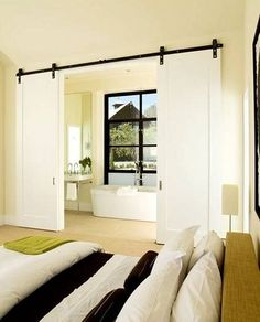 Installing interior barn door hardware can transform the look of your room. Read these steps in buying interior barn door hardware. Interior Flat, Interior Design, Modern Interior, Interior Balcony, Stylish Interior, Interior Sliding Barn Doors, Sliding Doors, Big Doors, Sliding Windows
