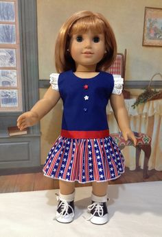 "ON SALE American Girl "" Bring on the Parade' 4th of July dress for the modern American girl doll or other 18 inch doll"