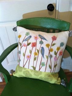 Flower and birds needle felted pillow by Londinlux