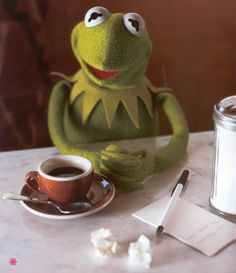 Coffee with Kermit...doesn't get any better than this.